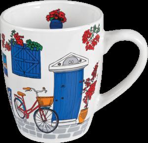 Mok Witte kat fiets